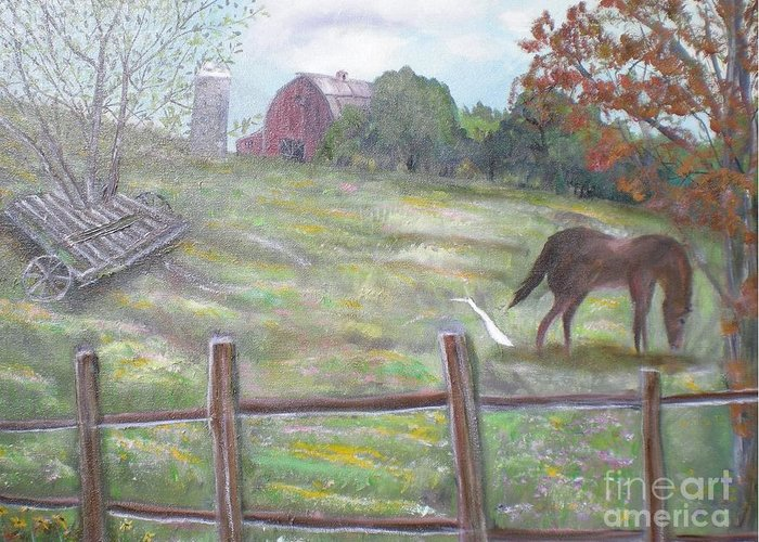 Landscape Greeting Card featuring the painting Strobel Farm by Hal Newhouser
