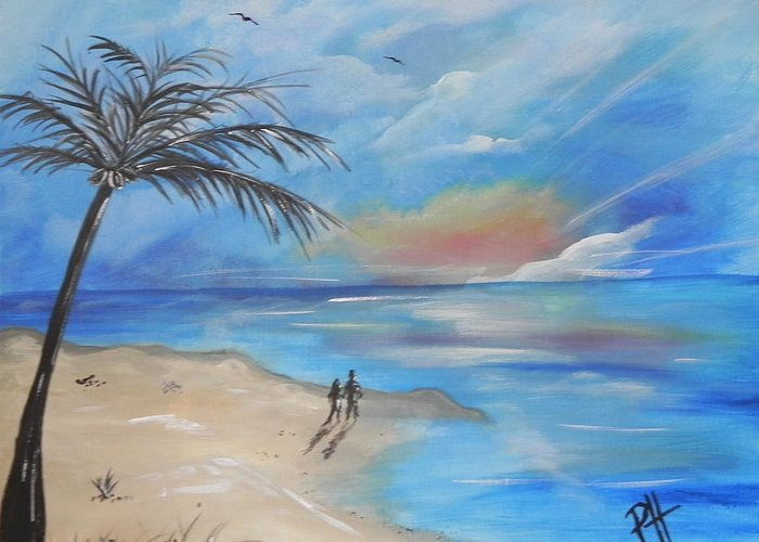 Sea Greeting Card featuring the painting Stroll by Patti Spires Hamilton
