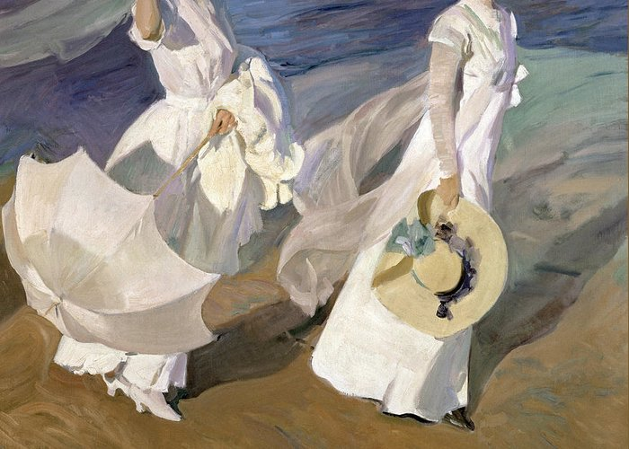 Sorolla Greeting Card featuring the painting Strolling Along The Seashore by Joaquin Sorolla y Bastida