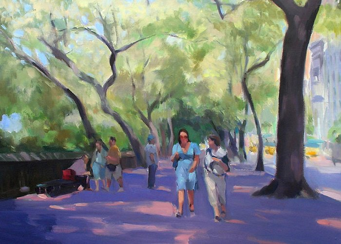 New York Greeting Card featuring the painting Strolling In Central Park by Merle Keller