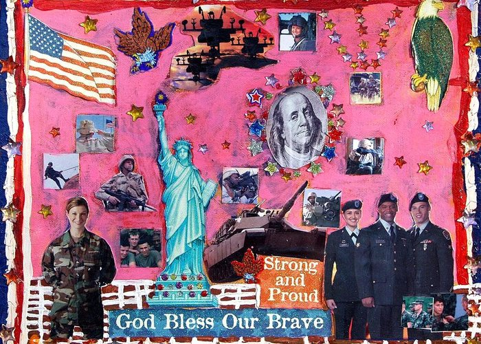 Military Patriotic Flag United States Soldiers Greeting Card featuring the mixed media Strong And Proud by Betty Roberts