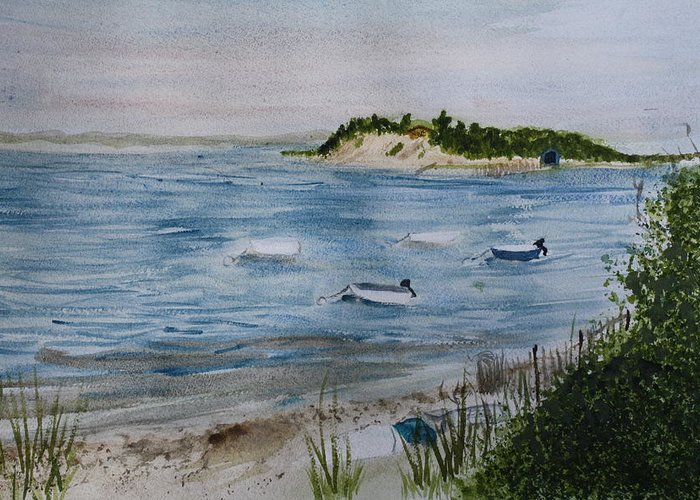 Strong Island Greeting Card featuring the painting Strong Island by Donna Walsh