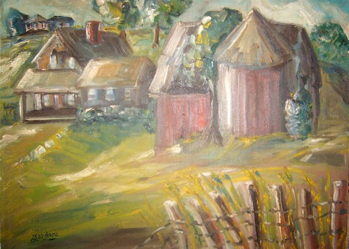 Landscape Grass Trees Barn House Greeting Card featuring the painting Stroudwater Farm 3 by Joseph Sandora Jr
