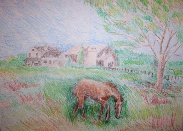 Landscape Horse Trees Grass Silo Barn House Animal Greeting Card featuring the pastel Stroudwater Farm 4 by Joseph Sandora Jr