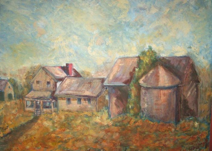 Landscape Greeting Card featuring the painting Stroudwater Farm by Joseph Sandora Jr