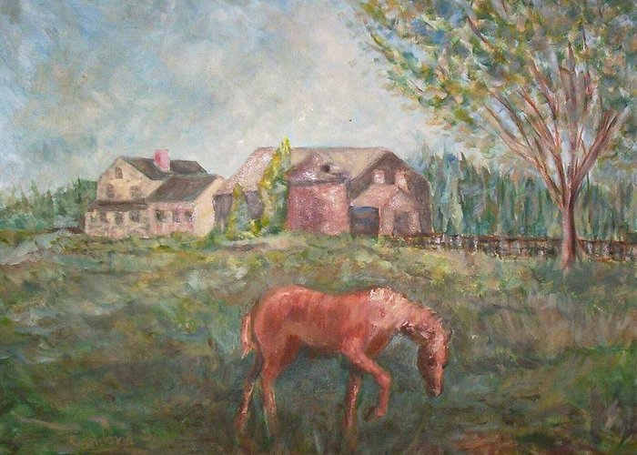 Landscape Greeting Card featuring the painting Stroudwater Farm-with Horse by Joseph Sandora Jr