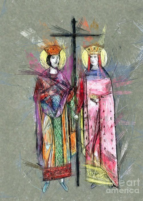 Sts Constantine And Helen Greeting Cards