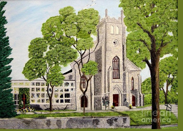 Historic Churches In Ontario Painting Greeting Card featuring the painting St.Thomas Anglican Church Belleville Circa1821 by Peggy Holcroft