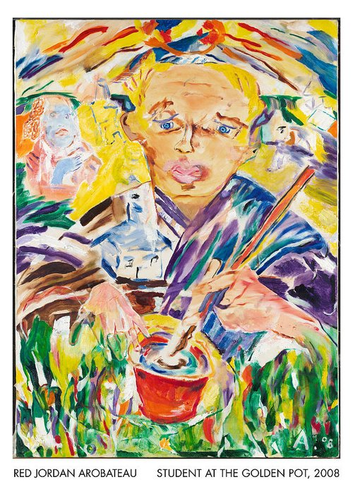 Student Greeting Card featuring the painting Student At The Golden Pot by Red Jordan Arobateau