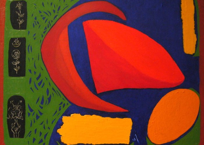 Irregular Forms; Abstract Greeting Card featuring the painting Studio Number 326 by Vijayan Kannampilly
