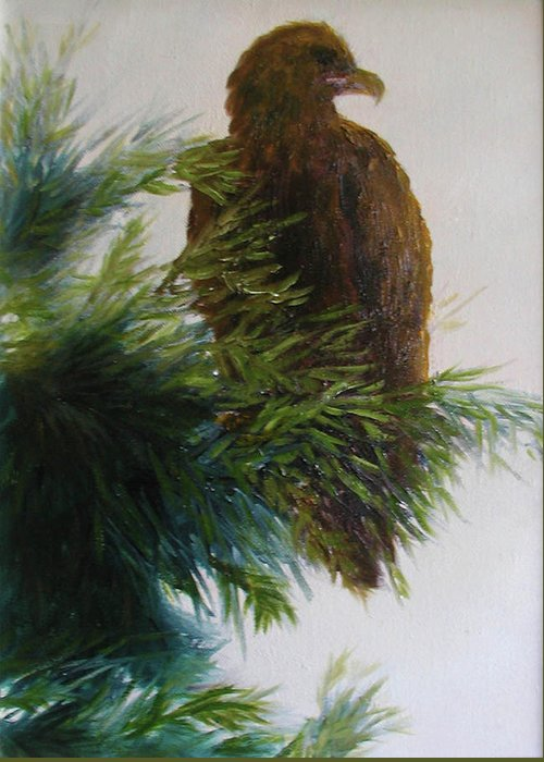 Eagle Greeting Card featuring the painting Study, Eagle by Sunny Franson