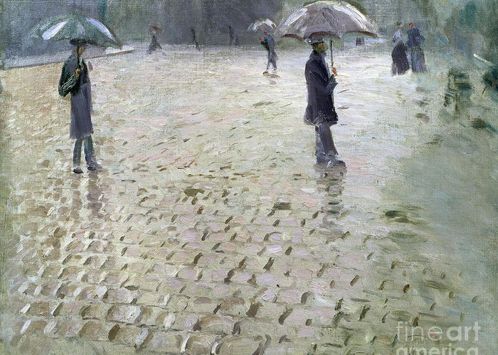 Gustave Greeting Card featuring the painting Study For A Paris Street Rainy Day by Gustave Caillebotte