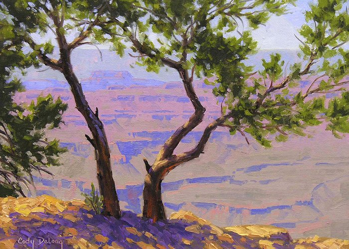 Grand Canyon Greeting Card featuring the painting Study For Canyon Portal by Cody DeLong