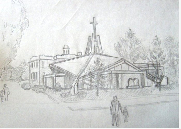 Landscape Greeting Card featuring the print Study For St Marys Church by Joseph Sandora Jr