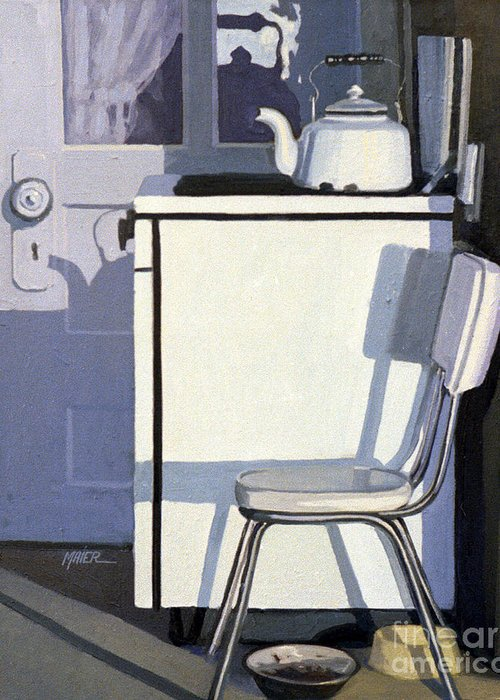 Gas Stove Greeting Card featuring the painting Study In White Enamel by Donald Maier