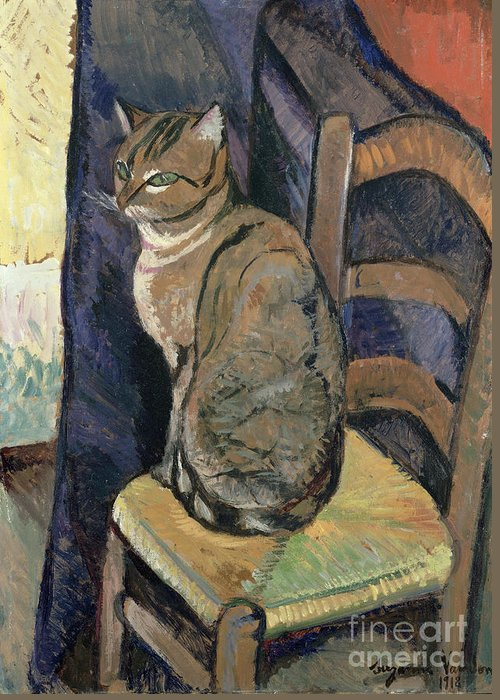 Study Greeting Card featuring the painting Study Of A Cat by Suzanne Valadon