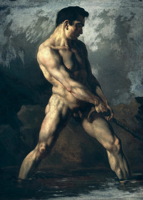 Study Greeting Card featuring the painting Study Of A Male Nude by Theodore Gericault