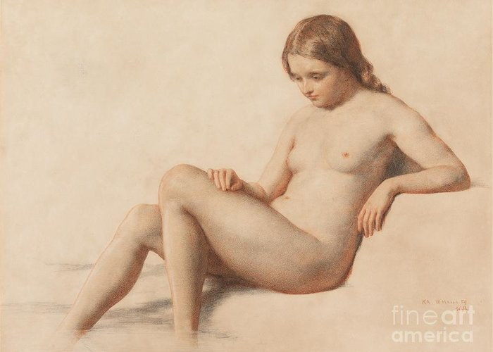 Study Of A Nude Greeting Card featuring the drawing Study Of A Nude by William Mulready