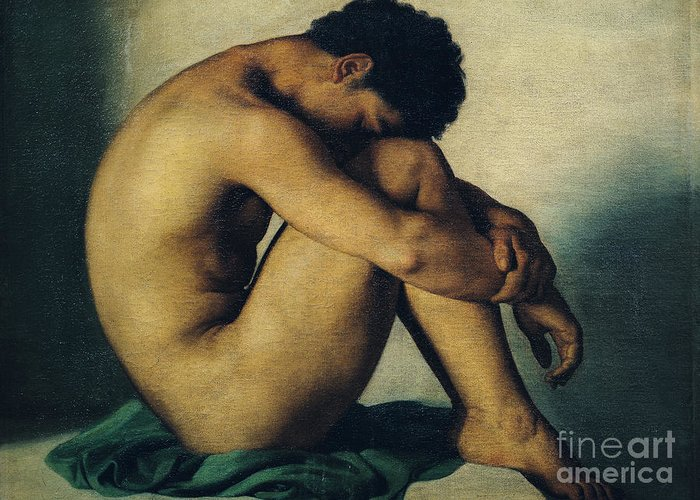Nude Young Man Greeting Cards