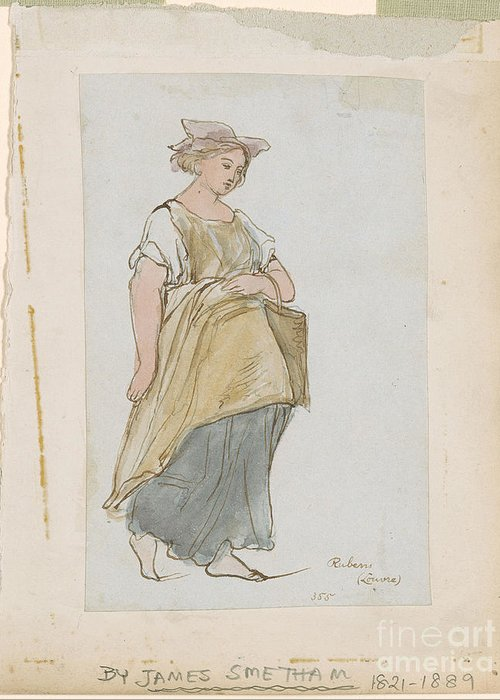 James Smetham 1821-1889 Study Of A Young Woman. Girl Greeting Card featuring the painting Study Of A Young Woman by MotionAge Designs