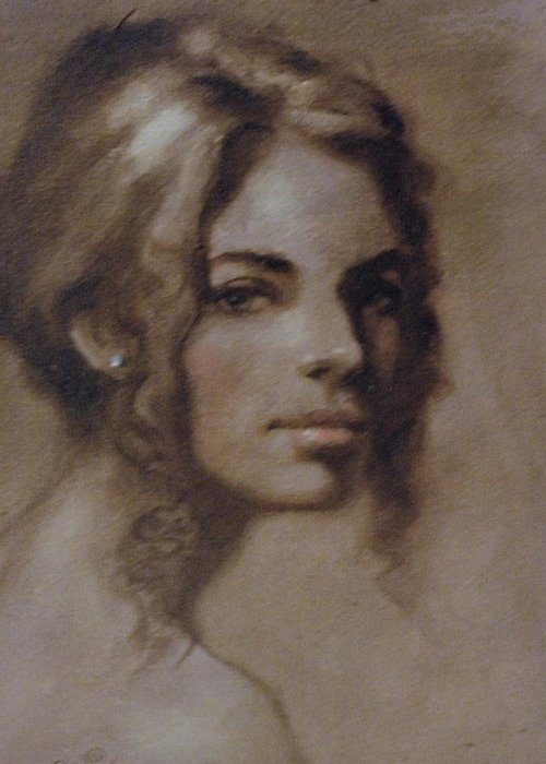 Grissail Study Greeting Card featuring the painting Study Of Model by David Olander