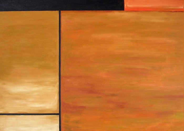 Brown And Black Rectangles Greeting Card featuring the painting Study Of Rectangles by Troy Thomas