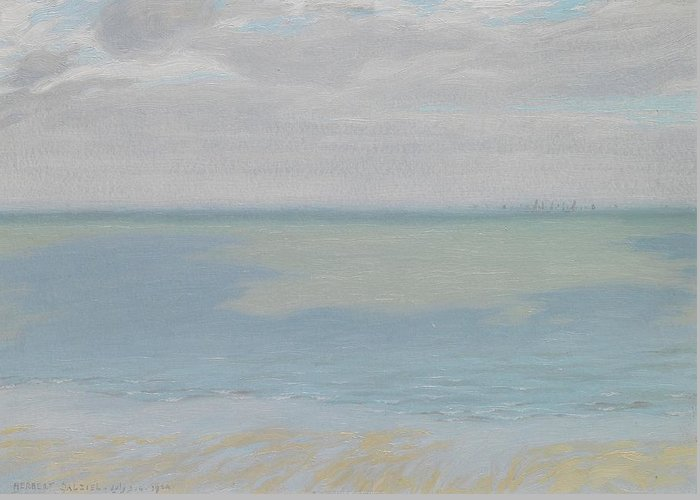 Study; Sky; Sea; Seascape; Horizon; Impressionistic; Water; Clouds; Sketch; Impressionism Greeting Card featuring the painting Study Of Sky And Sea by Herbert Dalziel