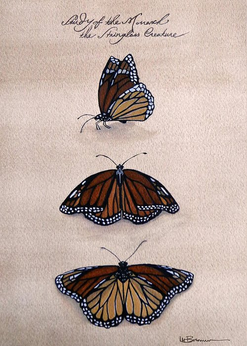 Monarch Greeting Card featuring the mixed media Study Of The Stain-glass Creature by Leslie M Browning