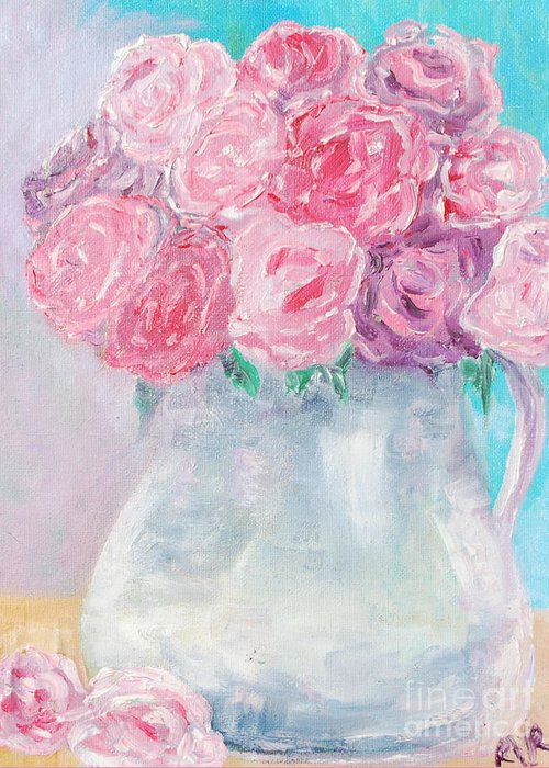 Flowers Study Greeting Card featuring the painting Study by Reina Resto