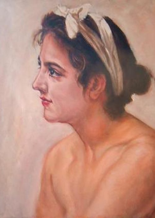 Portrait Greeting Card featuring the painting Study Woman After W. Bouguereau by Hidemi