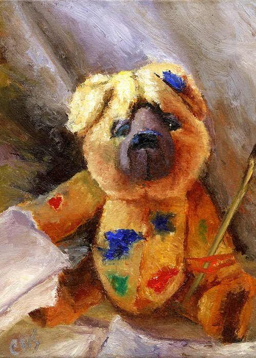 Teddy Bear Art Greeting Card featuring the painting Stuffed With Luv by Chris Neil Smith