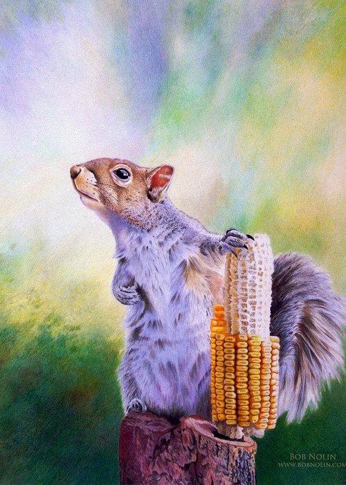 Squirrel Greeting Card featuring the digital art Stump Speech by Bob Nolin