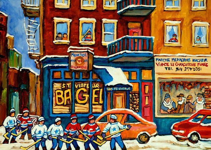 St.viateur Bagel Greeting Card featuring the painting St.viateur Bagel Hockey Montreal by Carole Spandau