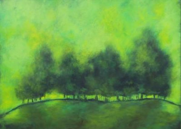 Green Greeting Card featuring the painting Sublime by Ellen Lewis