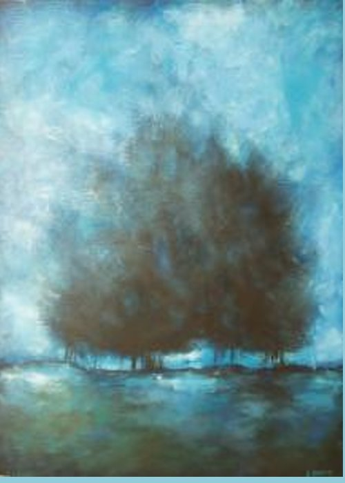 Blue Greeting Card featuring the painting Submerge by Ellen Lewis