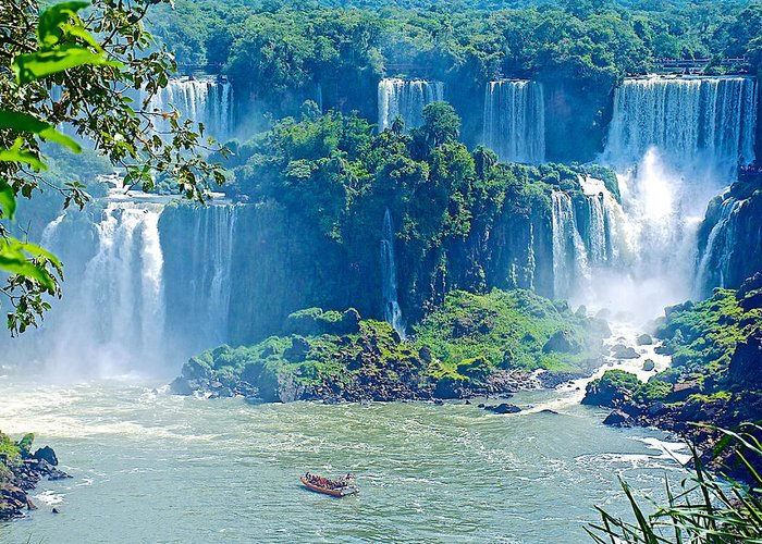 Subtropical Vegetation Surrounds Waterfalls In Iguazu Falls National Park Greeting Card featuring the photograph Subtropical Vegetation Surrounds Waterfalls In Iguazu Falls National Park-brazil by Ruth Hager