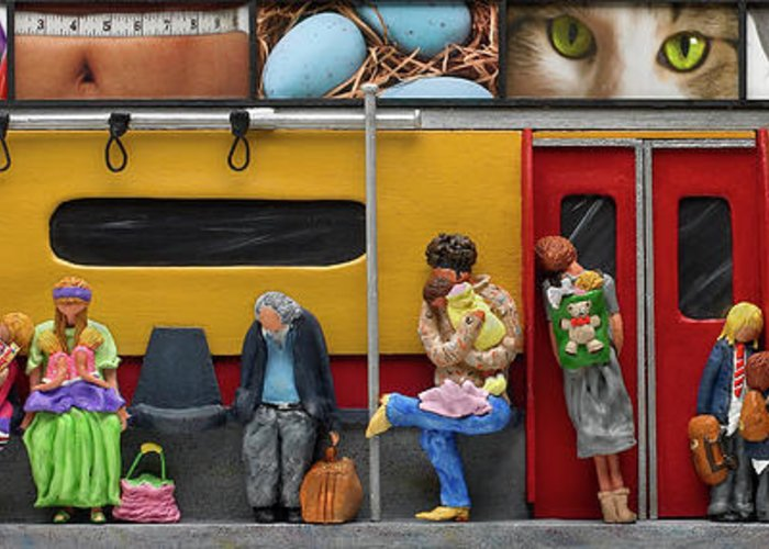 Subway Greeting Card featuring the mixed media Subway - Lonely Travellers by Anne Klar