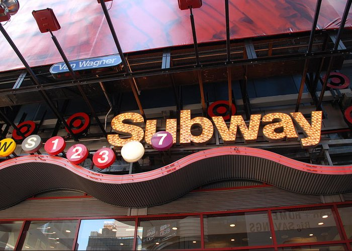 Neon Greeting Card featuring the photograph Subway by Rob Hans