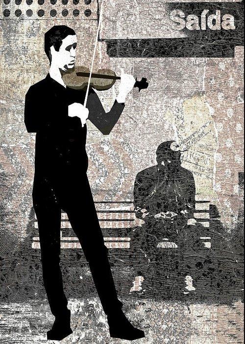 Subway Greeting Card featuring the digital art Subway Strings by Regina Wyatt