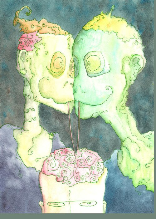 Zombie Greeting Card featuring the painting Such A Perfect Night by Jonathan Arras