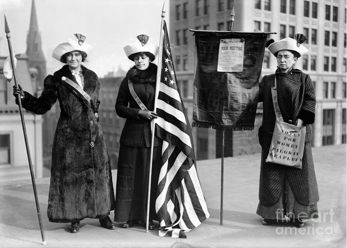 1910 Greeting Card featuring the photograph Suffragettes, C1910 by Granger