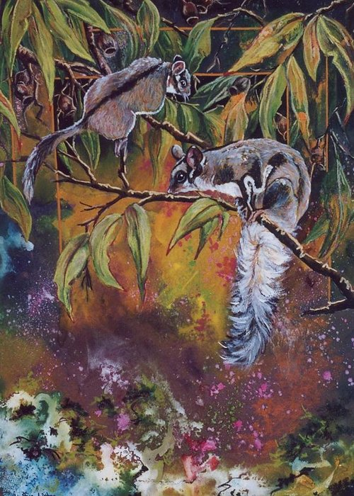 Sugar Gliders Greeting Card featuring the painting Sugar Gliders by Sue Linton