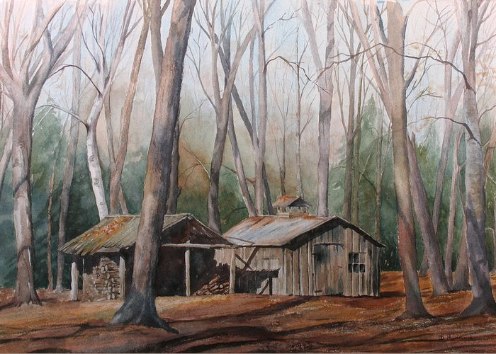 Sugar Shack Greeting Card featuring the painting Sugar Shack by Debbie Homewood