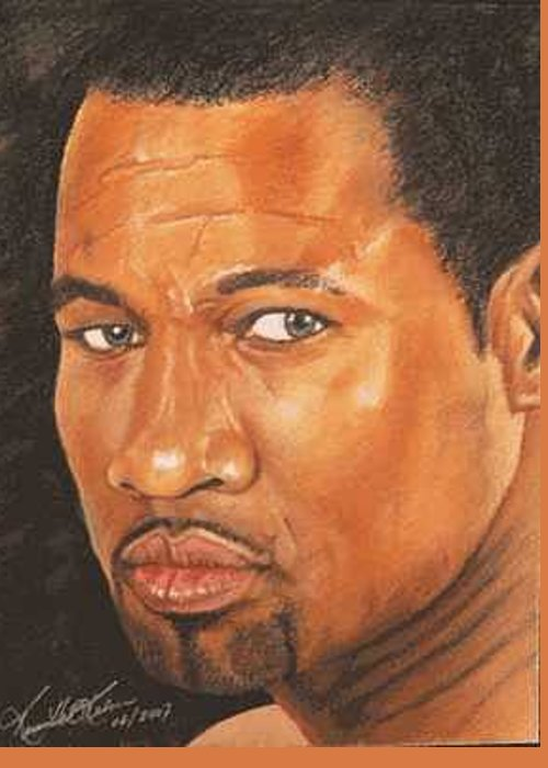 Boxer Greeting Card featuring the painting Sugar Shane Mosley by Kenneth Kelsoe