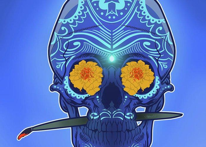 Gypsy Greeting Card featuring the digital art Sugar Skull by Nelson Dedos Garcia