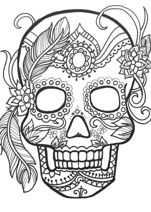 Sugar Skulls Black And White Series Greeting Card For Sale By Maria