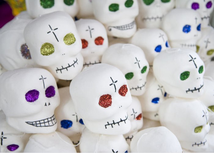Color Image Greeting Card featuring the photograph Sugar Skulls For Sale At The Day by Krista Rossow