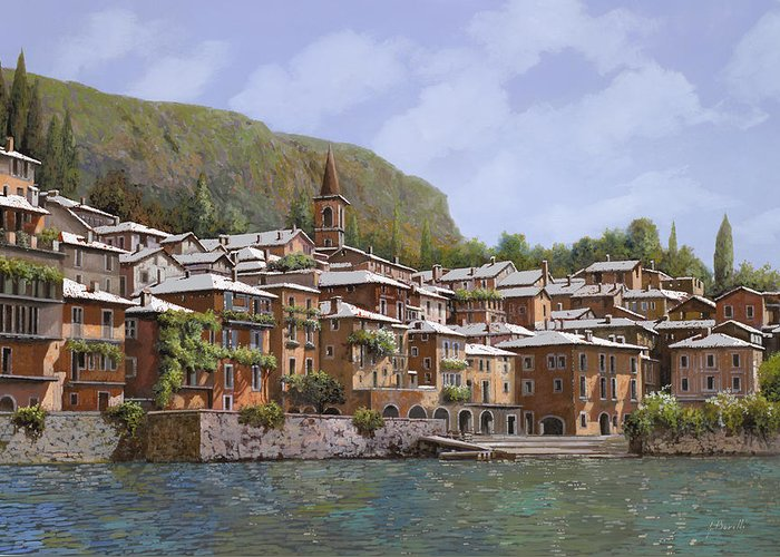 Lake Como Greeting Card featuring the painting Sul Lago Di Como by Guido Borelli