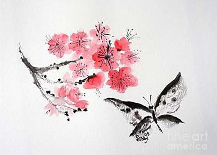 Blossoms Greeting Card featuring the painting Sumi -e Butterfly by Sibby S