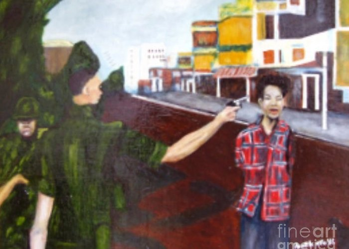 Vietnam War Greeting Card featuring the painting Summary Execution by Neil Trapp